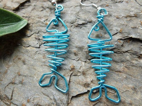 BLUE FISH EARRINGS wire work by chatnoir77 on Etsy. , via Etsy.