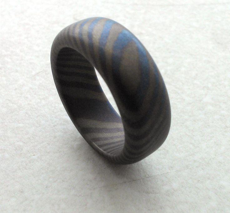 Mokuti ring by SNmetalworks. Forged titanium mokume gane ...