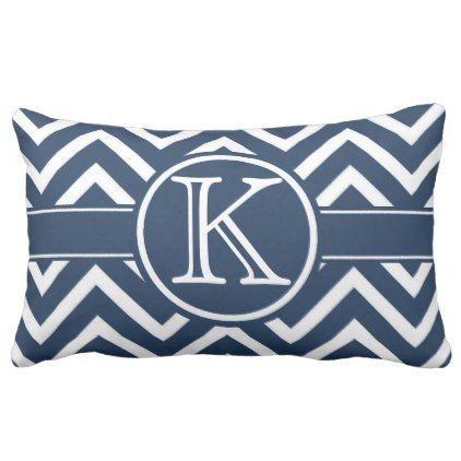 Trendy Navy Blue Chevron Monogram Lumbar Lumbar Pillow - #chic gifts diy elegant gift ideas personalize