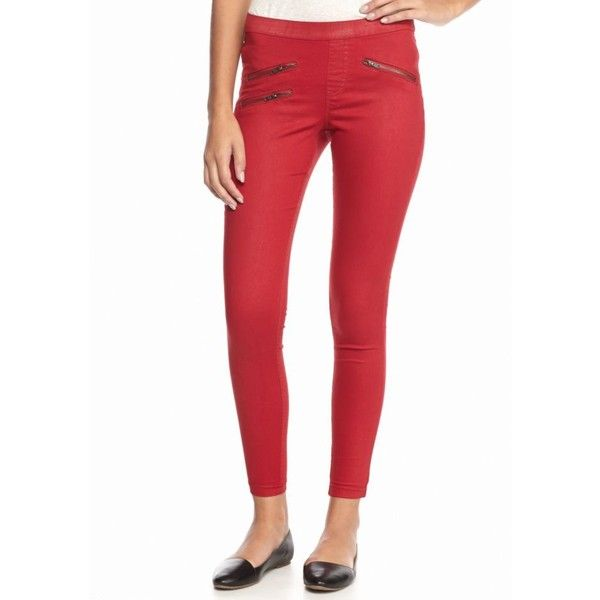 Hue Deep Red Zippered Glossy Leggings ($54) ❤ liked on Polyvore featuring pants, leggings, deep red, wet look leggings, red trousers, red white leggings, red shiny leggings e straight pants