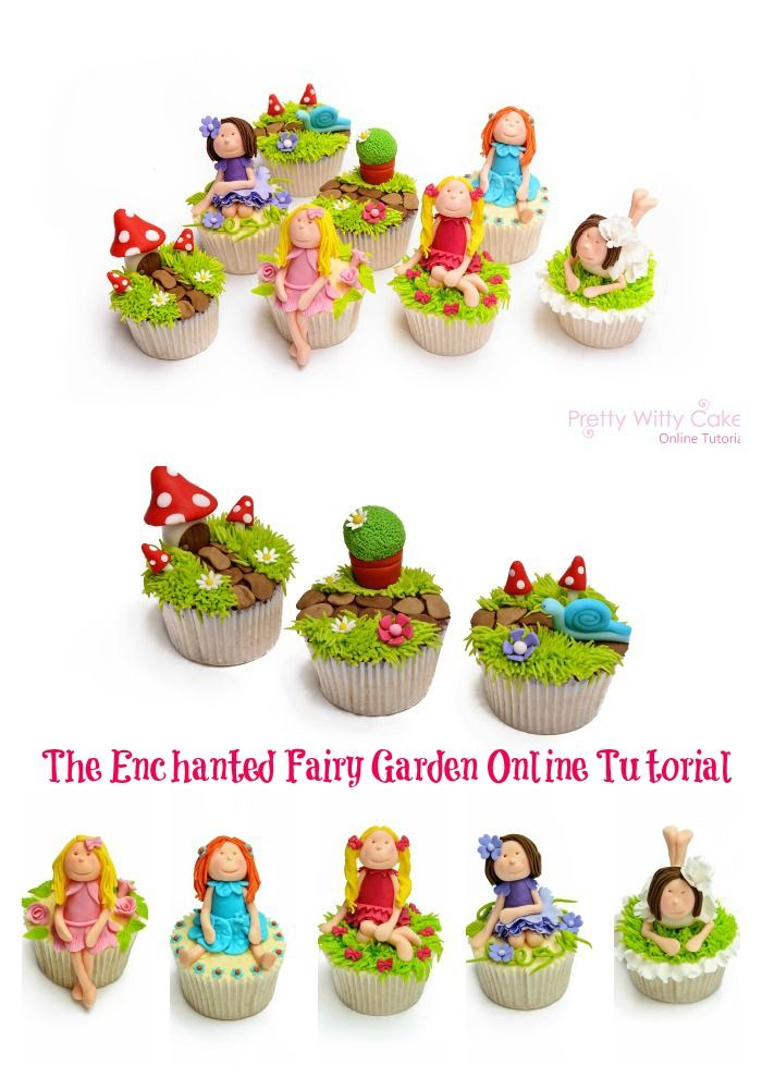 The Enchanted Fairy Garden Cupcake Class taught by Suzi Witt at Pretty Witty Cakes Online Tutorials https://www.prettywittycakes.co.uk/projects/fairy-cupcakes-project