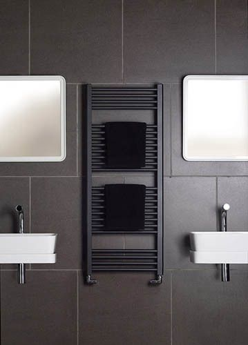 This stylish black heated towel rail will add a moody, sophisticated look to your bathroom. We think it would look stunning in a monochrome setting.