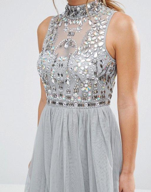 ASOS Petite   Сетчатое платье для выпускного с декорированным лифом ASOS PETITE