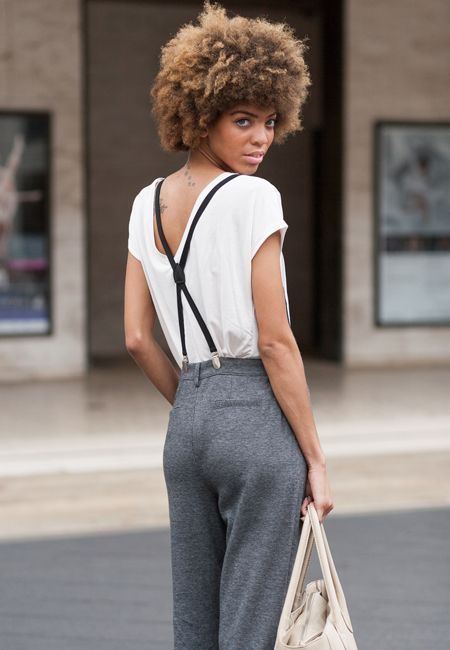 Insider Eye: New York Fashion Week Street Style 30's vintage inspired day wear office fashion looks boyfriend chic for alice while she dashes around town , lovely tailored trouser and thin braces with a backwards worn white tshirt coll everyday wear for any season alice