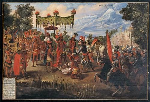 Hernando Cortez meeting with Aztec Emperor Montezuma II a crazy moment in history for Both groups. Montezuma II was the most powerful of Aztec Emperors.