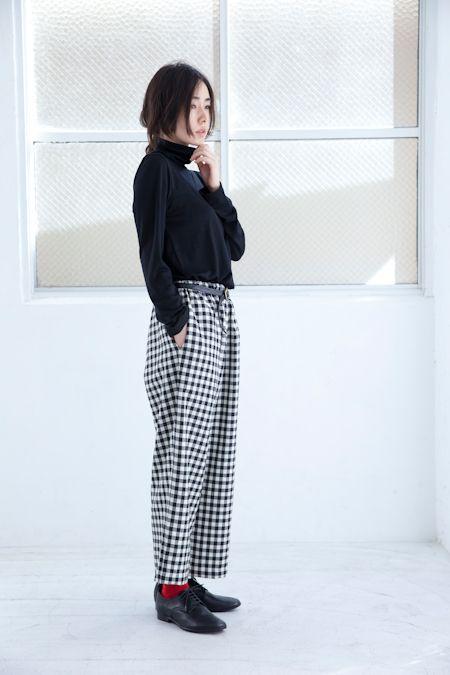 幅広パンツ(黒×白ギンガム  Wide pants(Black/white Gingham) 2014-2015 aw