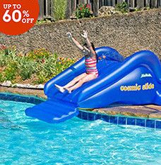 Create your very own lazy river with these affordable pools, toys, and accessories. Volleyball nets and inflatable slides keep kids entertained for hours, while durable lounge chairs and inflatable pool bars let adults enjoy aquatic happy hours. Stylish deck boxes and storage sheds keep toys tucked away until the next pool day.