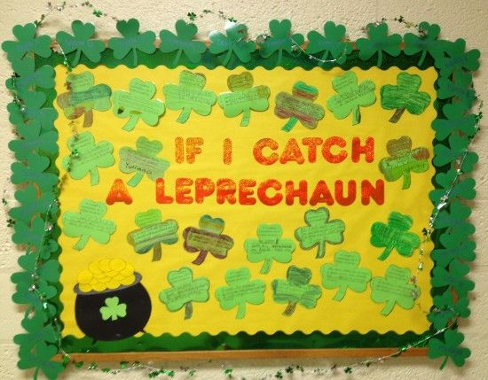 St. Patricks Day Spring Writing Bulletin Board Idea