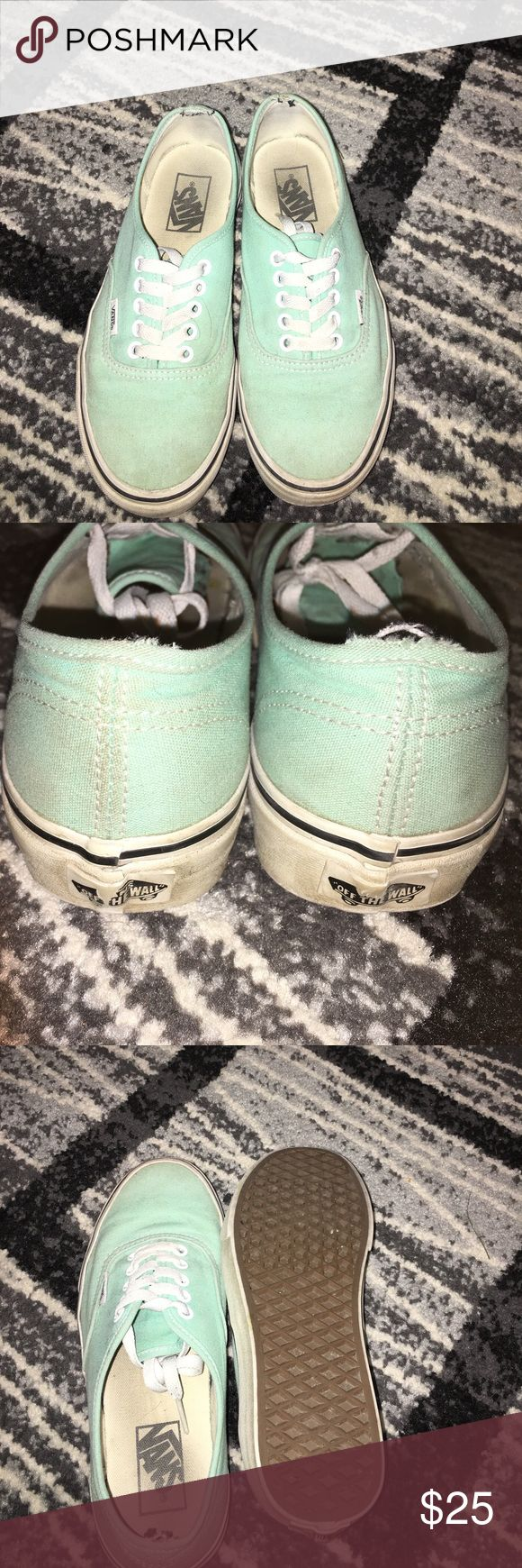 Mint green Vans Worn a few times but still in pretty good condition. there are a few spots that are dirty but could be cleaned fairly easily. No smell. Vans Shoes Sneakers