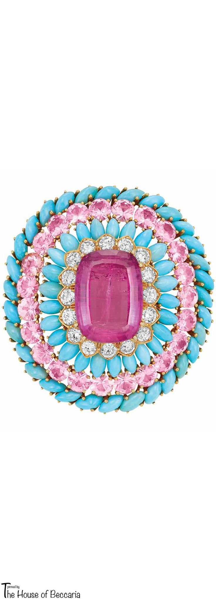 ღღ ~David Webb Gold, Turquoise, Pink Tourmaline, Pink Topaz and Diamond Clip-Brooch | The House of Beccaria