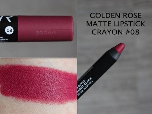 MAKEUP ARENA: Golden Rose Matte Lipstick Crayon no 08