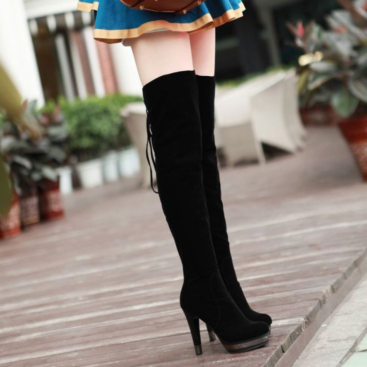 Lace Up Over the Knee Black Winter Boots. (only go up to an 8) :( $49