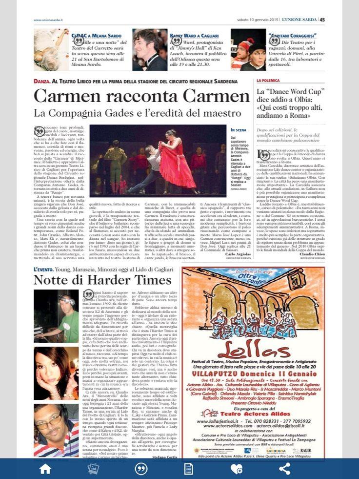 La recensione di Carmen sull'Unione Sarda
