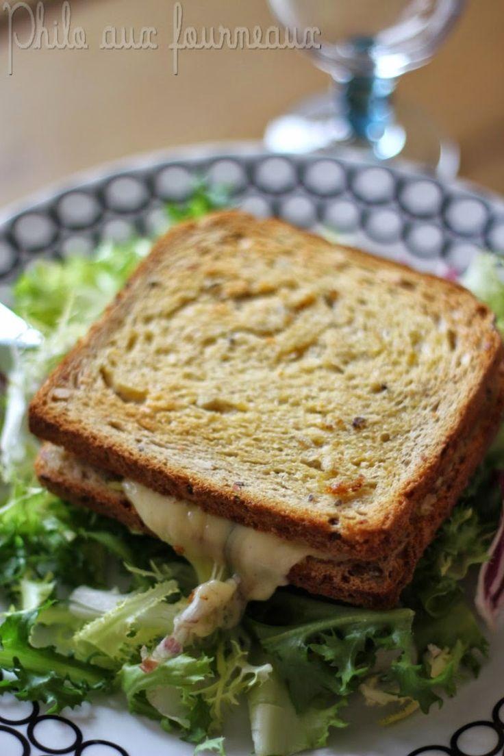 Croque-monsieur aux champignons & au Morbier- Recette testée le 19/9/16 avec beaucoup moins de beurre (mais encore trop), très bon.
