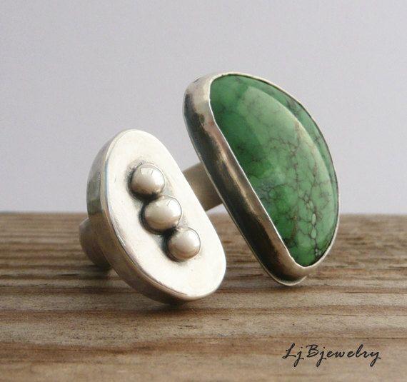 Sterling 925er Silber Ring, Türkis Stein Ring, hohle Form, Ring Größe 8. OOAK