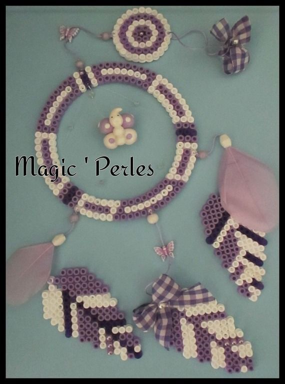 "Dreamcatcher hama perler beads - Collection ""Attrape-rêves"" Rêves LiliMerveilleux version Girly - by Alice Tobbi"