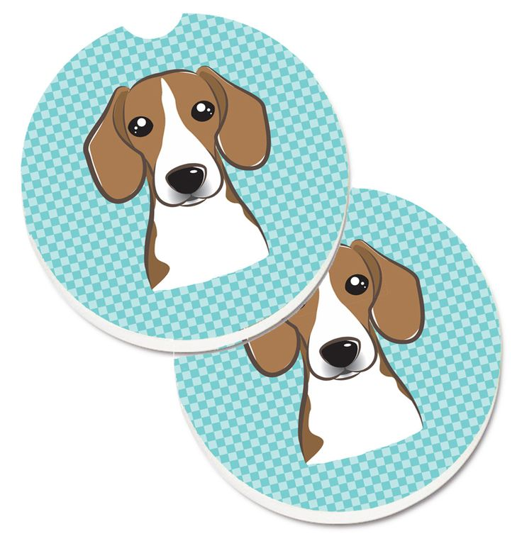 Checkerboard Blue Beagle Set of 2 Cup Holder Car Coasters BB1177CARC