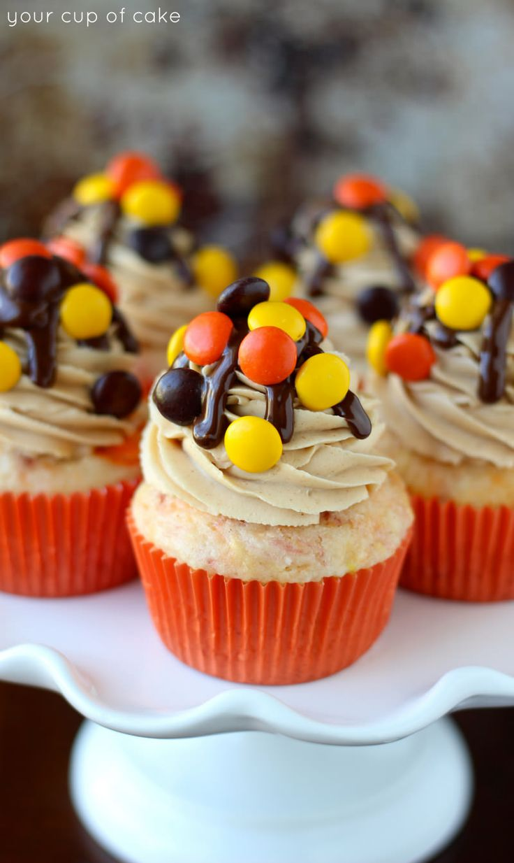 Reese's Pieces Cupcakes from Your Cup of Cake. This girl knows how to make cupcakes!!!