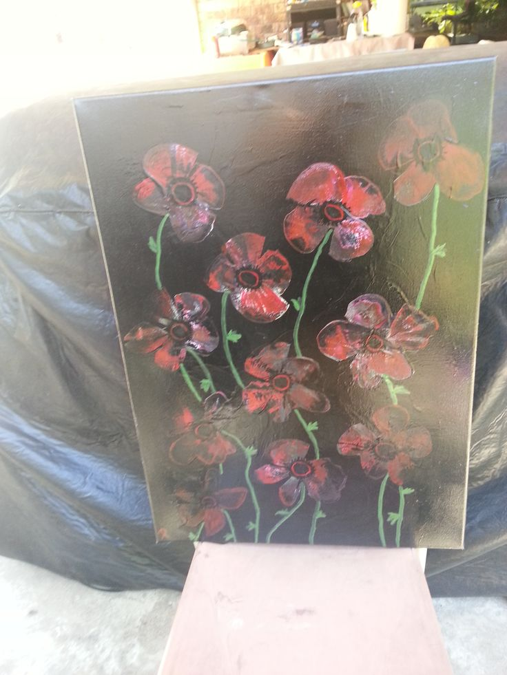 spraypainted poppies..Lest we Forget