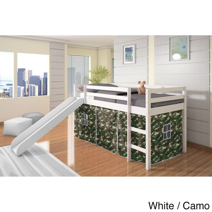 Donco Kids Twin Size Tent Loft Bed With Slide (White/Camo   White
