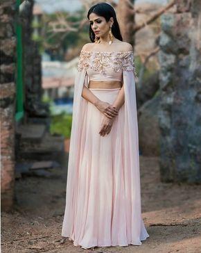 Light Pink Solid Lehenga With Cape Sleeves Choli