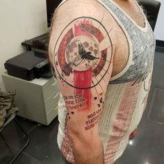 shoulder tattoo trash polka