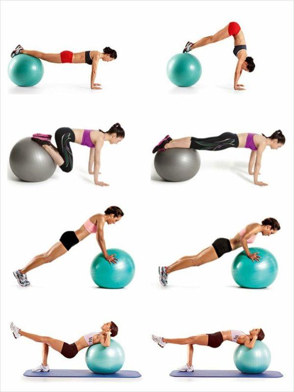 vier Gymnastikball Übungen für fortgeschrittene