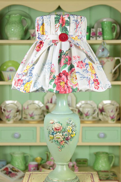 The patchwork vintage lampshade is delightful, but what caught our eye is the pale mint green and cream hutch and display shelf. Painted furniture works well with vintage looks. We paint walls AND furniture in Bellingham WA. http://www.northpinepainting.com
