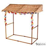 Tabletop Luau Hut...this looks pretty easy to make with dowels cardboard and crepe paper