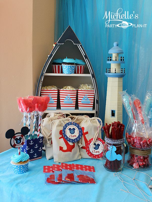 This wonderful Nautical Mickey Mouse Birthday Party has inspired details in red, white, aqua and navy blue. plus just the right splash of…