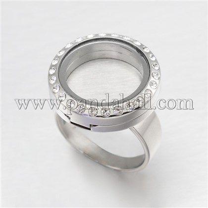 Configuración de anillo de dedo planas redondas de cristal magnético de acero inoxidable para una vida encantos medallón memoriaSTAS-M189-01-1