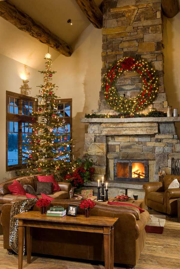 Montana mountain timber home great room. Fireplace shape and doors.