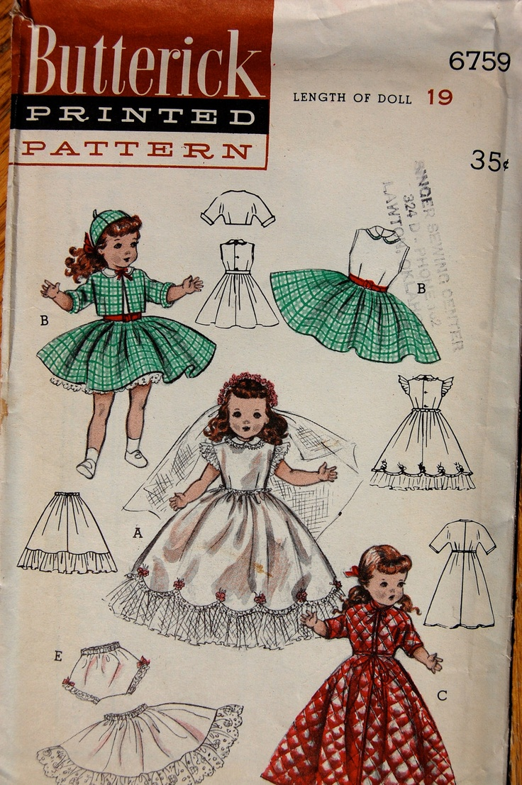 vintage sewing pattern butterick 6759 19 quot doll clothes