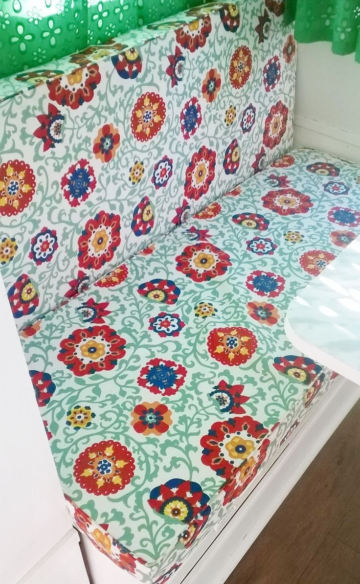 Retro camper curtains - Replace Your Old Camper Or Rv Cushions With Summer Patio Bench Cushions Cheaper Than Upholstering