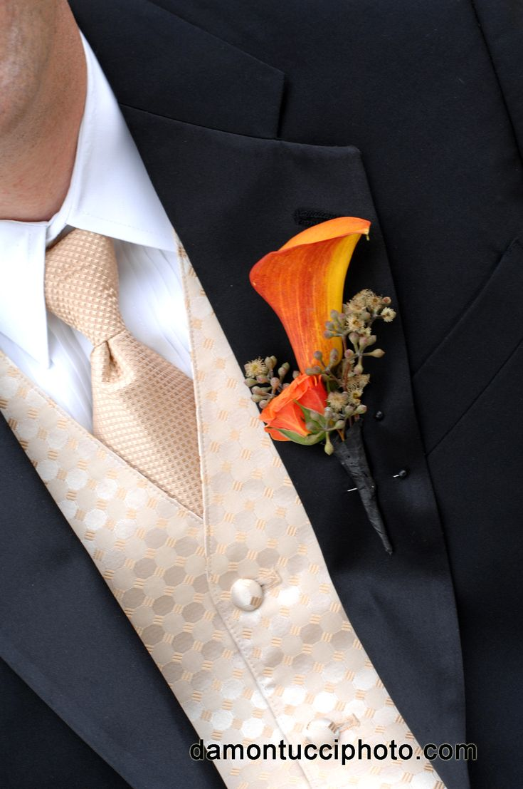 The groomsmen's boutonnieres will be a mango calla lily with peachy pink spray roses wrapped in gold ribbon with the stems showing.
