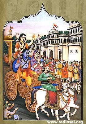Rama, Sita and Lakshamana leave Ayodhya and go into exile following their father's orders. Charioter is Santanu.