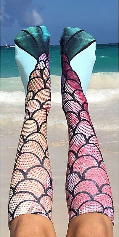 Mermaid Socks Channel your inner mermaid with these fun Living Royal knee -high mermaid socks. One size fits most.