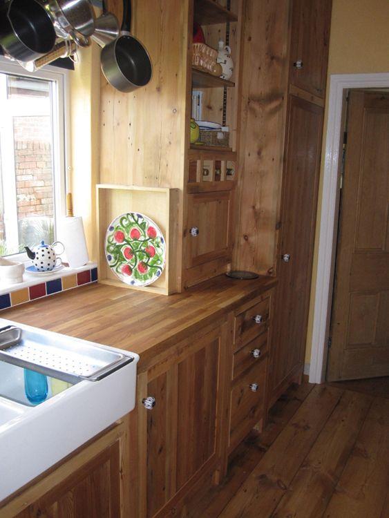 Reclaimed Wood Kitchen, Floor To Ceiling, Double Belfast Sink.