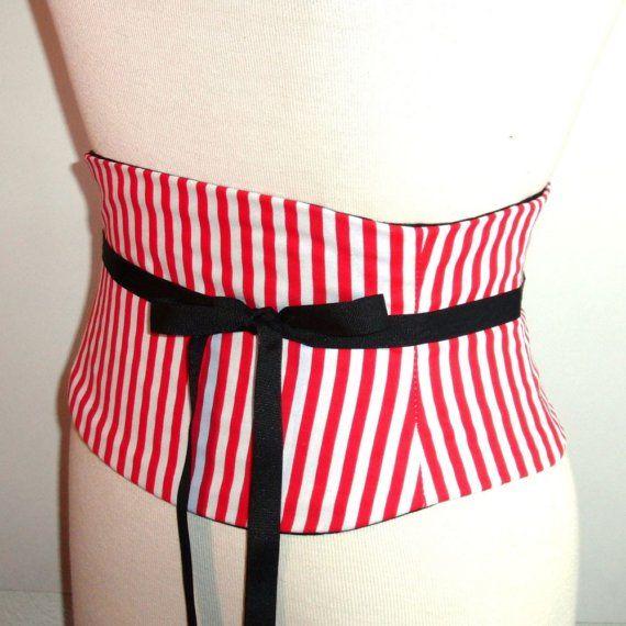 Red Striped Waist Cincher Corset Belt Peppermint Pirate