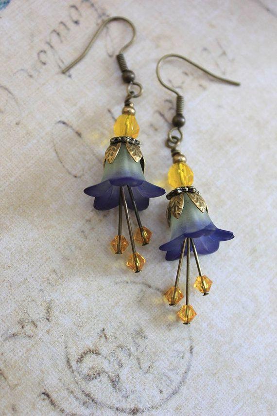 Lucite Flower Earrings Blue Bellflowers Golden by apocketofposies