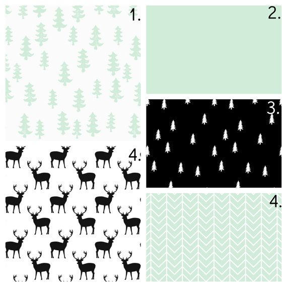 Modern Crib Bedding Set, Mint Gender Neutral Crib Sheet, Crib Skirt, Bumper, Changing Pad Cover, Black and White Woodland Nursery