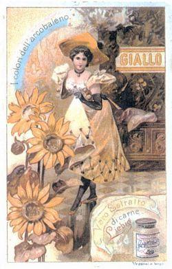 1. Serie Liebig 662 del 1901, «Colori dell'arcobaleno»: Il giallo. Sul rovescio è stampata la ricetta del minestrone alla milanese.