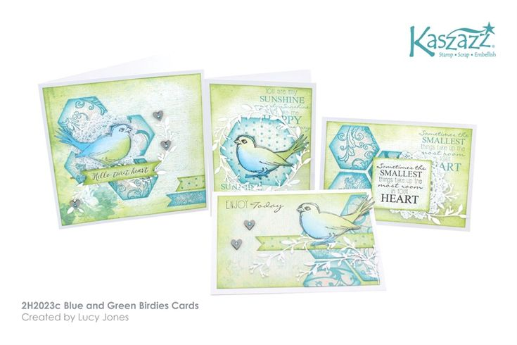 2H2023c Blue and Green Birdies Cards