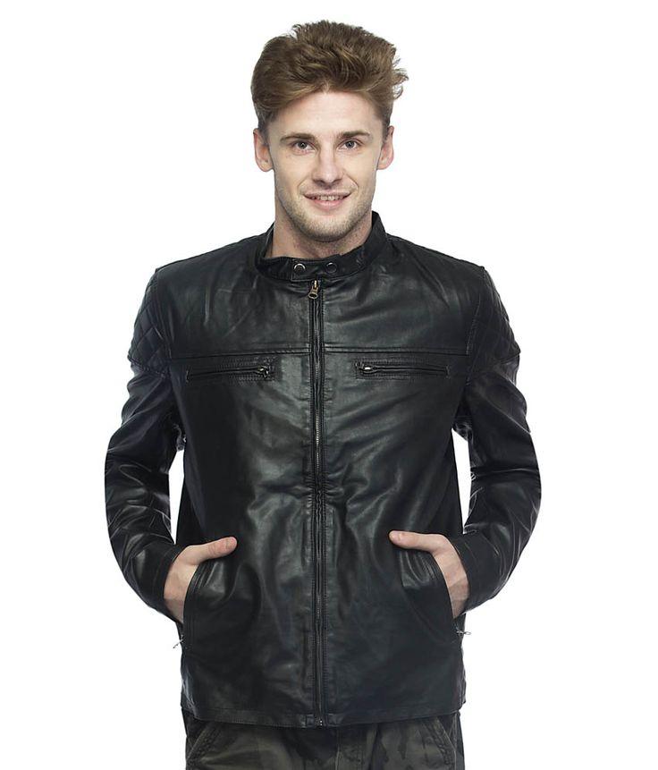 Chikfab Black Full Sleeve PU Leather Jacket