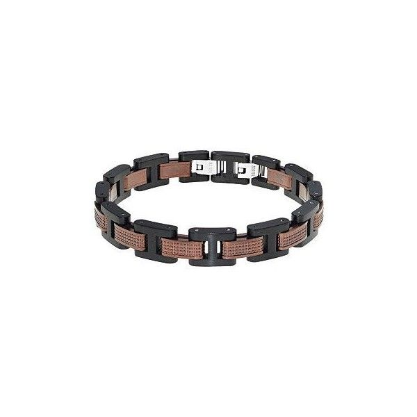 Lynx Two Tone Stainless Steel Men's Bracelet ($123) ❤ liked on Polyvore featuring men's fashion, men's jewelry, men's bracelets, grey, mens stainless steel bracelets, mens bracelets, mens watches jewelry and mens two tone bracelets