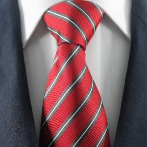 Red & White Striped Neckties / Formal Business Neckties.