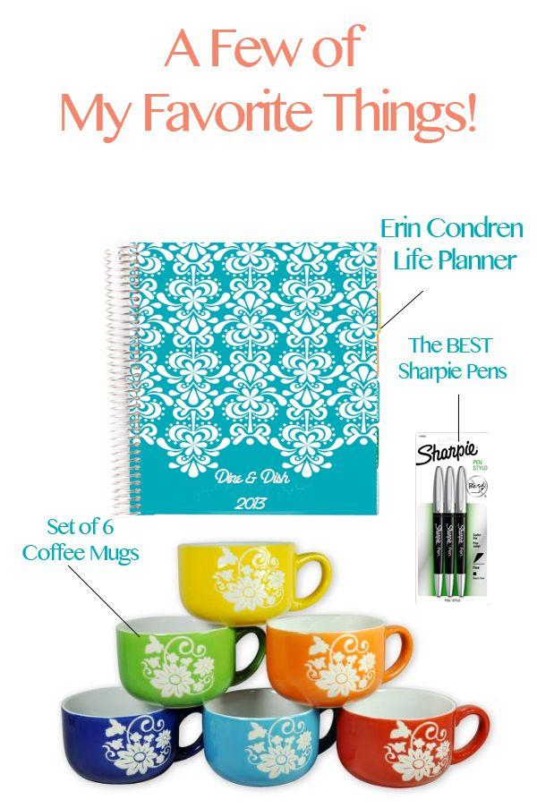 Favorite Things Giveaway with Erin Condren Planner, Sharpie Markers, Coffee Mugs at dineanddish.net