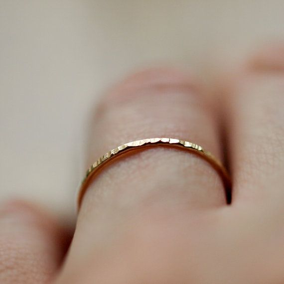 Yellow Gold Stacking Ring Thin Hammered Band 14k Yellow Gold