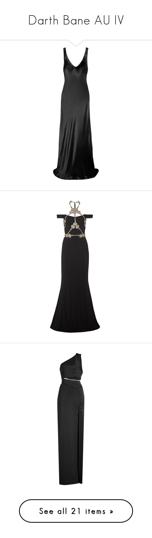 """""""Darth Bane AU IV"""" by shulamithbond ❤ liked on Polyvore featuring dresses, gowns, gown, silk satin slip, slip dresses, silk satin slip dress, silk satin dress, slip gown, reem acra and tie neck tie"""