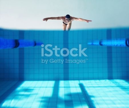 A young male swimmer diving into a pool at the start of a race